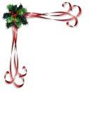Azevinho do Natal e beira das fitas Fotos de Stock Royalty Free