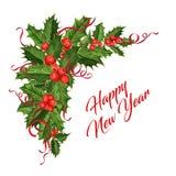 Azevinho do Natal do vetor, elemento da decoração da fita Foto de Stock