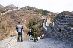 Azië China die, Peking, historische gebouwen, de Grote Muur badaling Royalty-vrije Stock Foto's