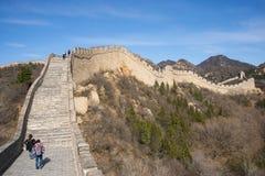 Azië China die, Peking, historische gebouwen, de Grote Muur badaling Stock Foto's
