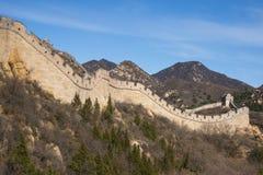 Azië China die, Peking, historische gebouwen, de Grote Muur badaling Stock Afbeeldingen