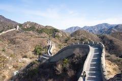 Azië China die, Peking, historische gebouwen, de Grote Muur badaling Royalty-vrije Stock Fotografie