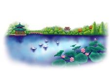 Azië, China, Oosterse Tuin met Paviljoen, Vijver, Stock Afbeelding