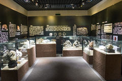 Azië China, Peking, geologisch museum, binnententoonstellingszaal Stock Fotografie