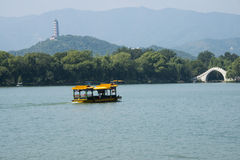 In Azië, China, Peking, het de Zomerpaleis, Kunming-meer, cruise, toneel Stock Afbeelding