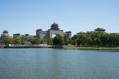 Azië China, Peking, het park van de lotusbloemvijver, Lakeview, het Westenstation van Peking Royalty-vrije Stock Fotografie