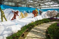 Azië China, Peking, landbouwcarnaval, binnententoonstelling hallï ¼ Œ sceneï ¼ Œskiing Royalty-vrije Stock Foto