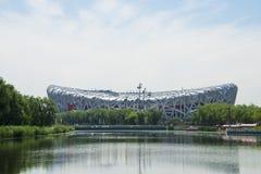 Azië China, Peking, Olympisch Park, de zomer landscapeï ¼ Œlake, het Nationale Stadion, Stock Foto
