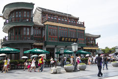 Azië, China, Peking, Qianmen-Straat, commerciële straat, gangstraat Stock Afbeelding