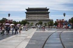Azië, China, Peking, Qianmen-Straat, commerciële straat, gangstraat Stock Afbeeldingen