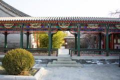 Azië China, Peking, Zizhuyuan-Park, Landschapsarchitectuur, Paviljoen, Galerij Royalty-vrije Stock Foto's