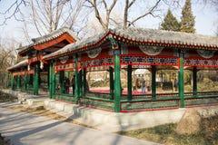 Azië China, Peking, Zizhuyuan-Park, Landschapsarchitectuur, Paviljoen, Galerij Royalty-vrije Stock Foto