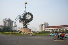Azië China, Tianjin, landschapsarchitectuur, het Vierkant van de eeuwklok Stock Foto's