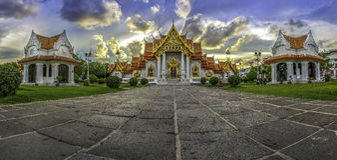 Azië, de Marmeren Tempel (Wat Benchamabophit), Bangkok, Thailand stock fotografie