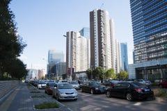 In Azië, Peking, Wangjing, China, moderne gebouwen, straatlandschap Stock Foto's