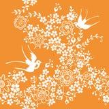 Azië Bloemen en Vogel Stock Afbeeldingen