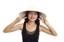 Aziaat met overwinningsteken stock afbeeldingen