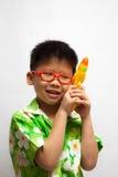 Aziaat weinig jongen droevig Royalty-vrije Stock Afbeelding