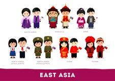 Aziaten in nationale kleren Oost-Azië royalty-vrije illustratie