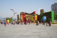 Aziatisch China, Peking, moderne architectuur, het nest van de vogel, het Nationale Stadion, festival Stock Foto