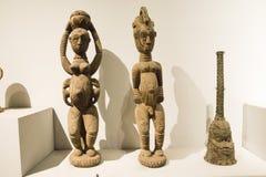 Aziatisch China, Peking, Nationaal Museum, de tentoonstellingszaal, Afrika, houtsnijwerk Royalty-vrije Stock Afbeeldingen
