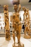 Aziatisch China, Peking, Nationaal Museum, de tentoonstellingszaal, Afrika, houtsnijwerk Royalty-vrije Stock Fotografie