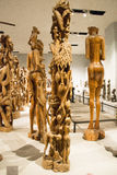 Aziatisch China, Peking, Nationaal Museum, de tentoonstellingszaal, Afrika, houtsnijwerk Royalty-vrije Stock Foto's