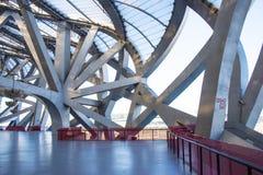Aziatisch China, Peking, Nationaal Stadion, binnenlandse staalstructuur Stock Afbeeldingen