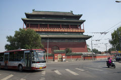 Aziatisch China, Peking, oude architectuur, de Trommeltoren Royalty-vrije Stock Afbeeldingen