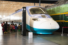 Aziatisch China, Peking, Spoorwegmuseum, tentoonstellingszaal, trein Stock Afbeelding