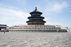 Aziatisch China, Peking, Tiantan-Park, de zaal van gebed voor goede oogsten Stock Fotografie