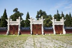 Aziatisch China, Peking, Tiantan-Park, lingxing deur, historische gebouwen Stock Fotografie