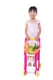 Aziatisch Chinees meisje met het winkelen karretjehoogtepunt van vegetabl royalty-vrije stock foto's