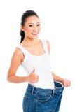 Aziatisch Chinees vrouwen verliezend gewicht met dieet royalty-vrije stock foto