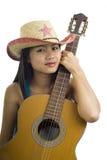 Aziatisch gitaarmeisje Royalty-vrije Stock Foto's