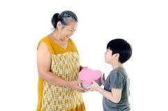 Aziatisch Grootmoeder en kind royalty-vrije stock afbeeldingen