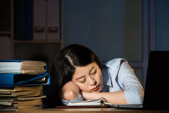 Aziatisch het bedrijfsvrouw slaperig werk overwerk laat - nacht stock afbeelding