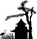 Aziatisch huissilhouet royalty-vrije illustratie