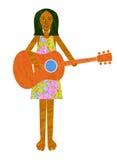 Aziatisch of Indisch meisje die een gitaar spelen Royalty-vrije Stock Foto