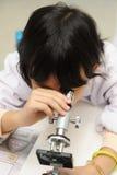Aziatisch jong geitje dat microscoop onderzoekt Royalty-vrije Stock Foto's