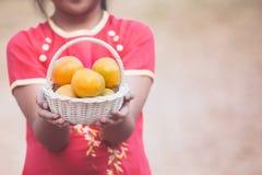 Aziatisch kindmeisje die de mand van sinaasappel houden Royalty-vrije Stock Afbeeldingen