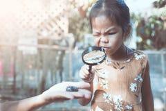 Aziatisch kindmeisje die vergrootglas het letten op keverlarven gebruiken royalty-vrije stock foto's