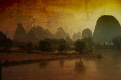 Aziatisch landschap stock afbeeldingen