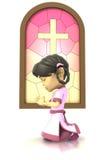 Aziatisch meisje dat vooraan gebrandschilderd glasvenster bidt Royalty-vrije Stock Foto's