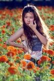 Aziatisch meisje in de bloem Stock Foto's