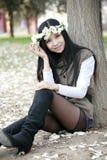 Aziatisch meisje in de lente Royalty-vrije Stock Afbeeldingen