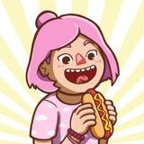 Aziatisch meisje die hotdog eten stock illustratie