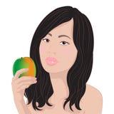 Aziatisch meisje met een mango stock illustratie