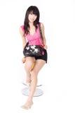 Aziatisch meisje met handtas Stock Foto's