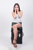 Aziatisch meisje in reisconcept Stock Afbeelding